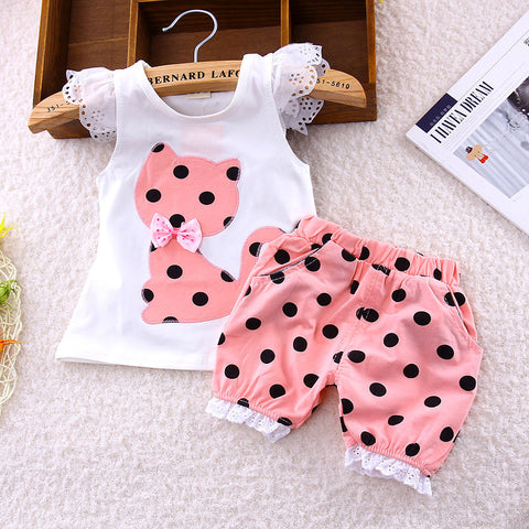 bow suit small cute cat shorts suit baby girls Set