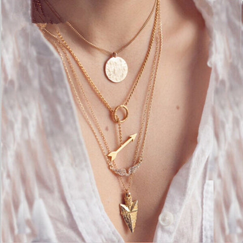 4 layer arrow design necklace pendant charm gold choker necklace women jewelry