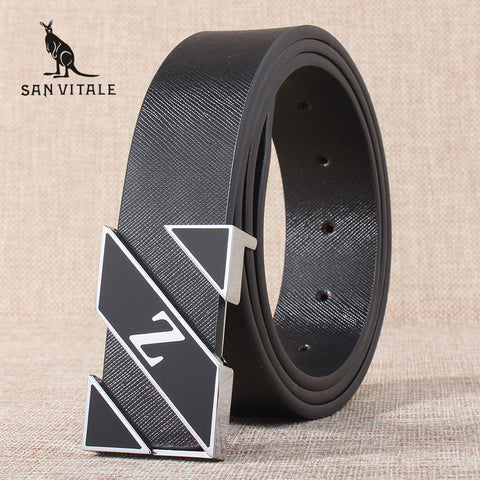 Cowhide Young Fashion Leather Buckle Men Belt Luxury Bussiness Casual