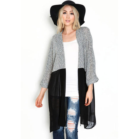 Knitted Chiffon Blouse Shirt Female Long Casual Chiffon Cardigans Kimonos