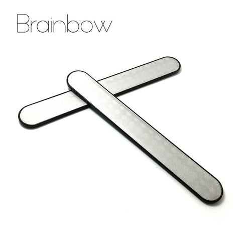 2pcs Stainless Steel Nail Files Buffer Sanding Polishing Nail Grinding Blocks