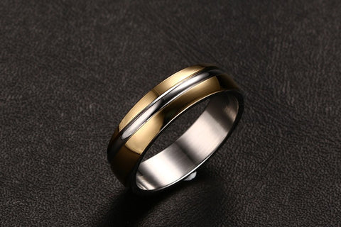 3 color wedding ring for men / women 316 stainless steel ring black / gold