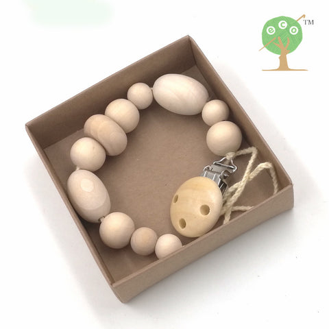 3 designs Natural round wooden beads pacifier clip