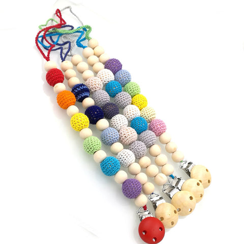 5 designs to choose Rainbow Gradient Baby Pacifier Clip
