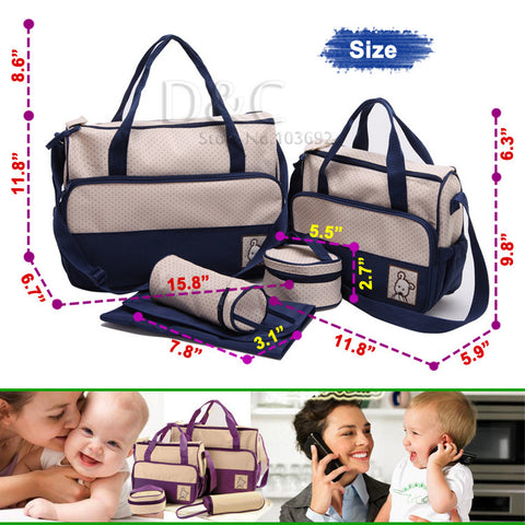 5pcs/set diapering Multifunctional baby diaper bags baby nappy bags