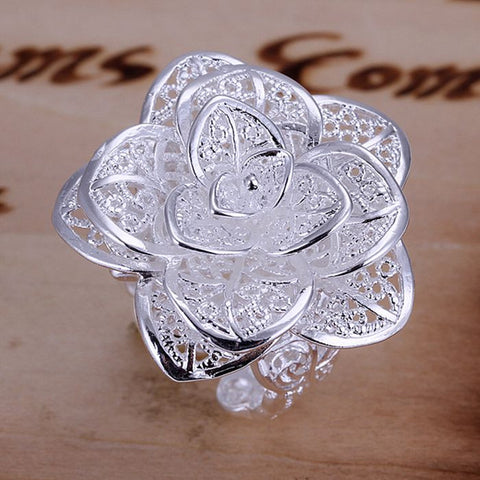 925 jewelry silver plated jewelry ring fine nice flower ring top quality