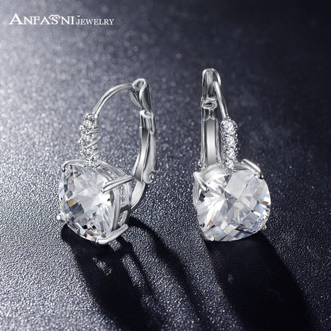 ANFASNI  Hot Sell Silver Plated Hoop Earrings Clear Color  AAA Zircon Geometric Earrings