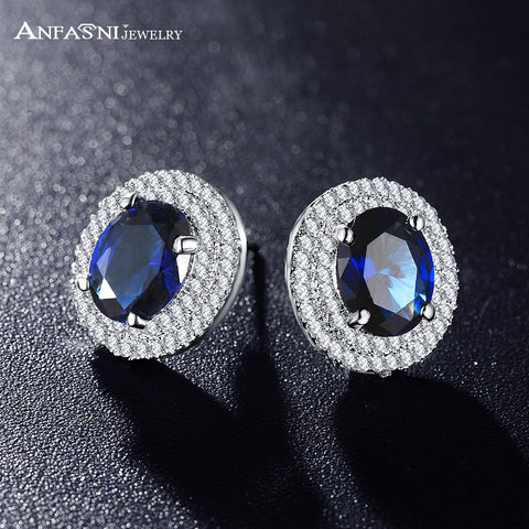 Arrival Round Earrings Stud Plt Micro Inlay AAA Cubic Zircon Luxury Blue Earring
