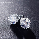 ANFASNI Top Quality Stud Earrings Silver Color Wedding Earrings Round Cut 3 Carat