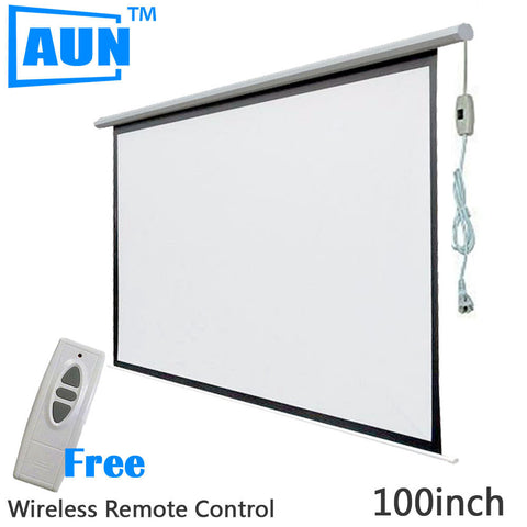 AUN 100 inch 16:9 Motorized Screen for Projector Electric Projector Screen Free Wireless Remote Control and Hook DDM10