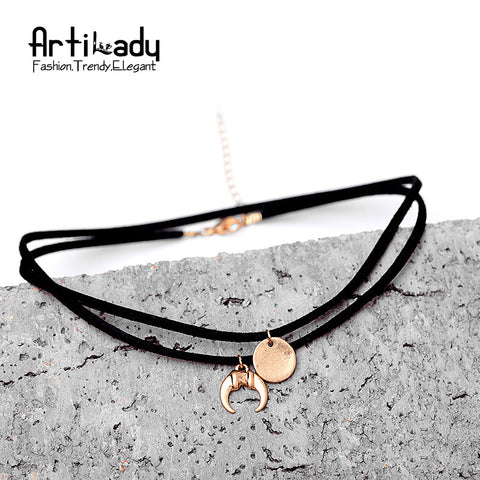 Artilady black pu leather gold choker necklace vintage women's delicate simple horn choker boho jewelry