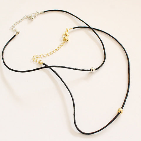 Artilady delicate leather chain choker necklace small round beads necklace for women jewelry
