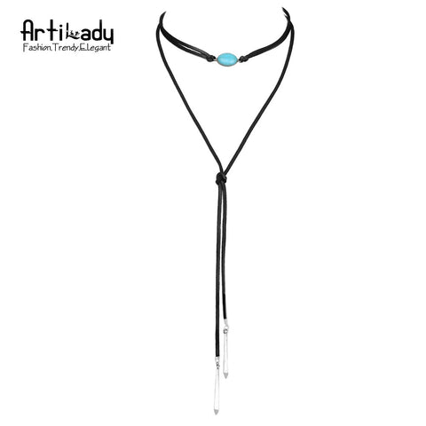 Artilady natural turquoise tassel necklace fashion genuine leather long chain necklace for women jewelry party
