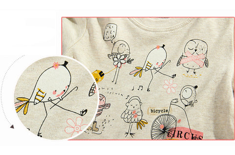 Autumn Winter 100% Cotton Kids T Shirt Cartoon Bird Long Sleeve Baby