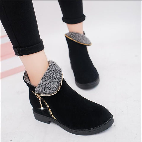 ankle boots women boots thick heel leather boots female side zipper