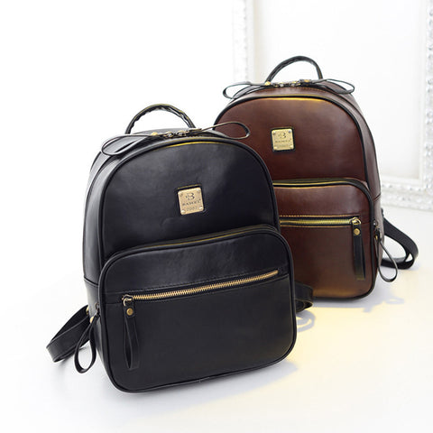 Black Leather Backpack Women's PU Leather Backpacks