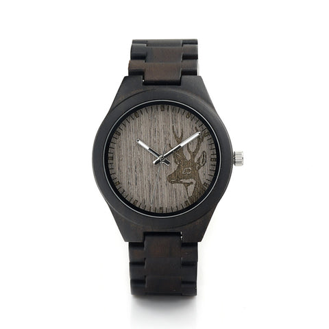 Elk Head Natural Wooden Watches Men With Genuine Cowhide Leather