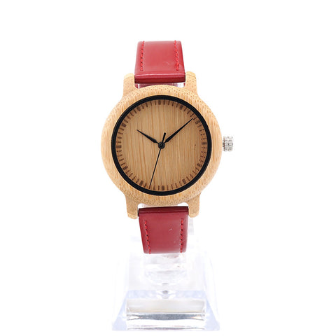 Bamboo Women Watch Bamboo Dial Genuine Red PU Leather Band Quartz
