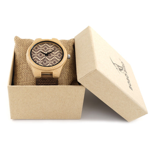 Bamboo Wooden Women's Luxury Leather Band Watches