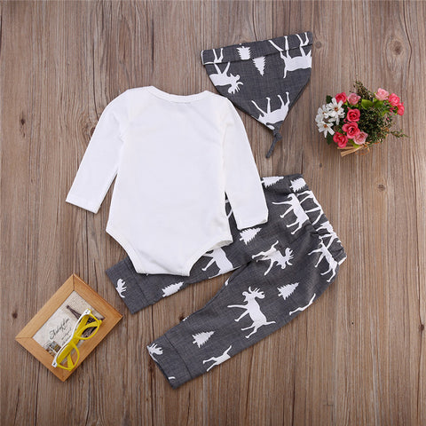 Baby Boy Girl Reindeer Tops Romper+Pants 3pcs