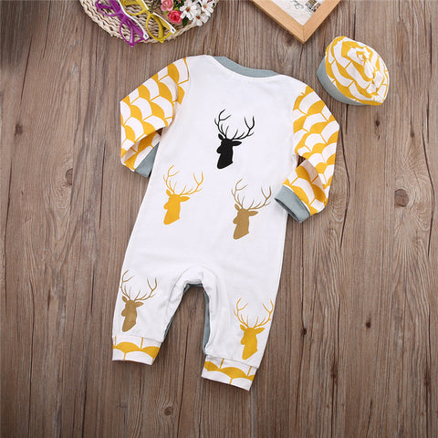 Long Sleeve Deer Romper Jumpsuit Hat Outfits Clothes