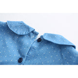 Autumn Denim Dress Long Sleeve Lapel Dot Fox Pattern