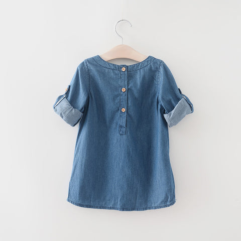 Girls Denim Dress Children Clothing Autumn Casual