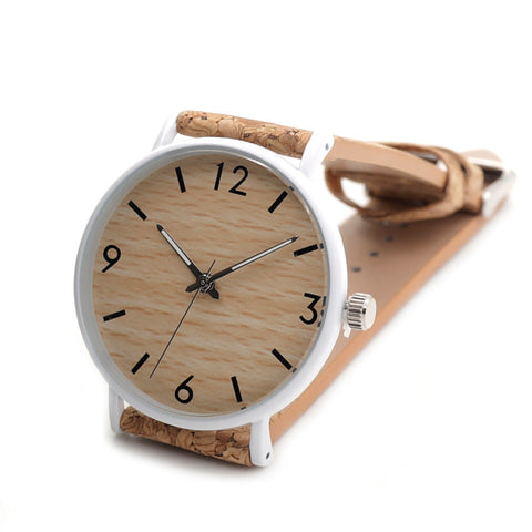 Bamboo Watch Quartz Real Leather Strap Men Watches