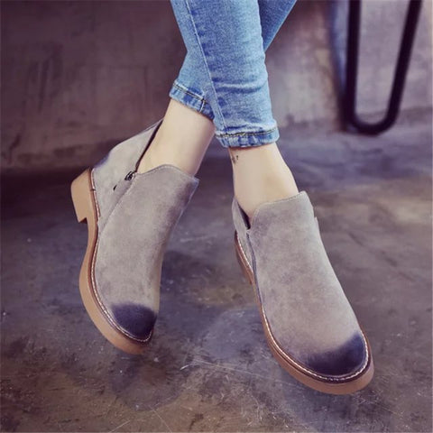 Ankle Boots Flat Heels Suede Leather Boots Zipper Casual