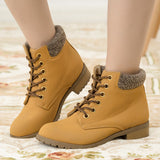 Ankle Boots Heels Lace up Casual Shoes Woman Oxfords