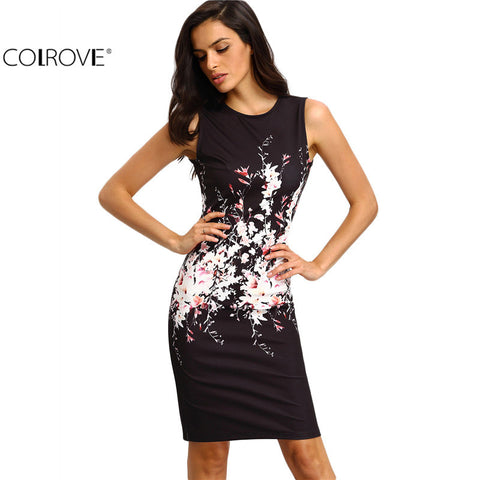 Bodycon Dresses Vintage Ladies Sexy Fitness Floral Print Sleeveless Crew