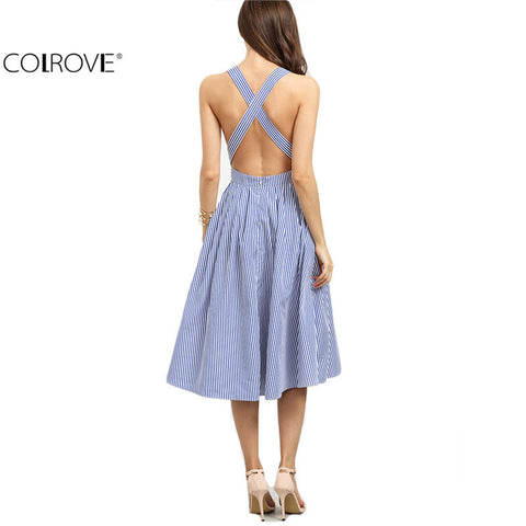 Blue Striped Sleeveless Criss Cross Back A Line Backless Dress