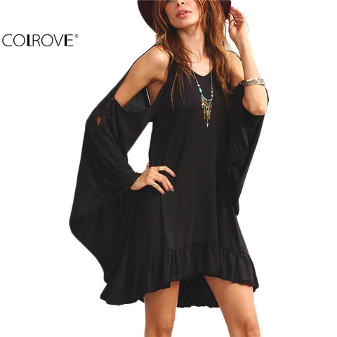 Back Ruffle Hem Dress Women Casual Round Neck Long Sleeve Cut Out