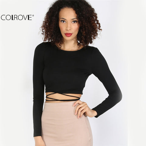 ... Backless Long Sleeve Crop Top Women Sexy Club Wear Tees Plain Round