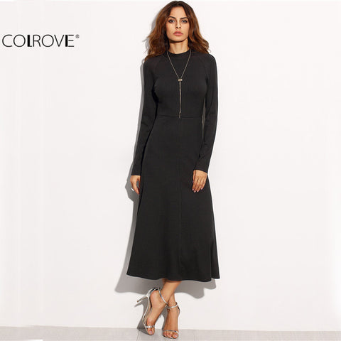 Fall New Style Women Backless Round Neck Long Dress