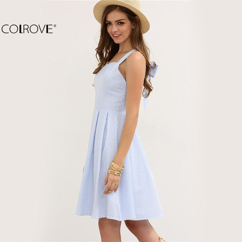 Hollow Out Sleeveless A Line Short Dress Women Summer Cute Tank Dress