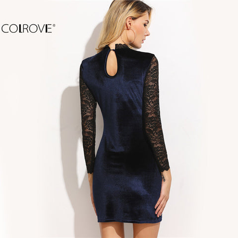 Cut Out Back Elegant Evening Navy Contrast Lace Long Sleeve Mini Dress