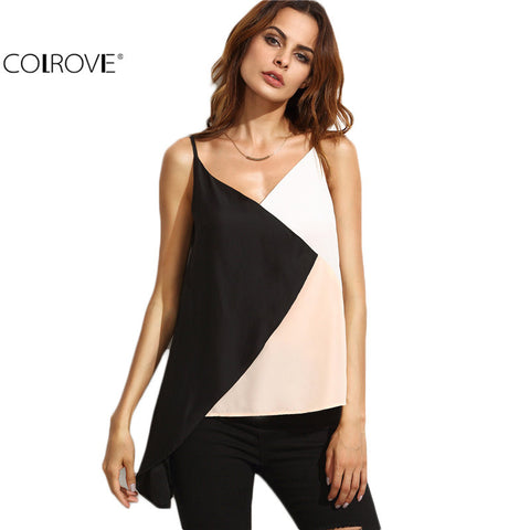 Cami Top Women Spaghetti Strap Sleeveless Patchwork Plunge Camisole