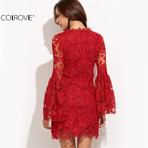European Style Red Embroidered Lace Overlay Bell Sleeve Dress