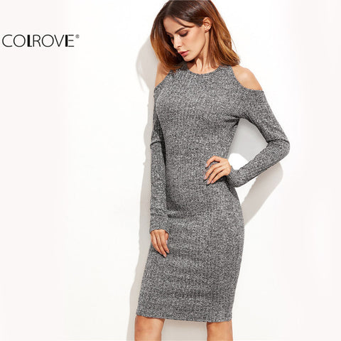 Dress Sexy Grey Long Sleeve Marled Knit Cold Shoulder Cutout Tie Back
