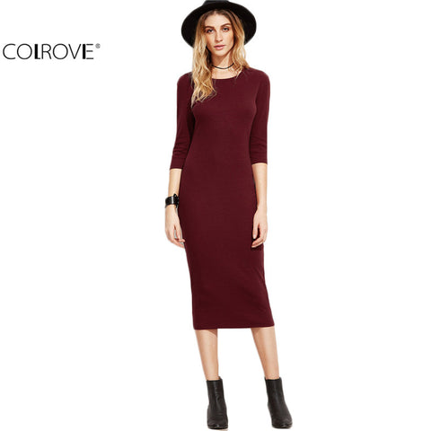 Fall Designer Dress Women Burgundy 3/4 Sleeve Pencil Dress