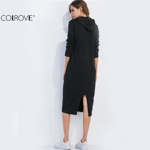 Casual Dresses for Woman Long Sleeve Dresses Black Split Back Drawstring