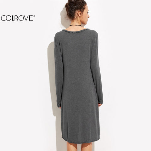 Front Dress Female Autumn Dress Solid Plunge Long Sleeve Loose Dress