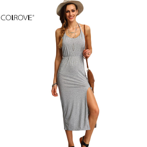 Backless Side Split Sheath Long Beach Ladies Cotton Dresses