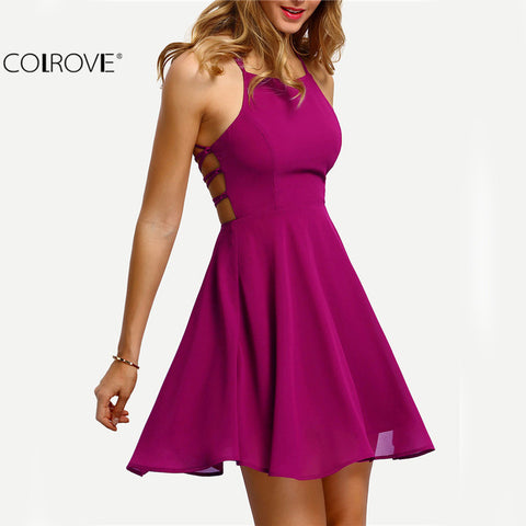 Spaghetti Strap Short Skater Dress Women A Line Sleeveless Mini Dress
