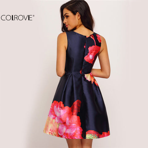 Dresses Multicolor Sleeveless Round Neck Floral Flare Short Dress