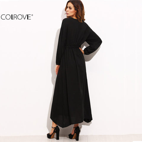 Deep V Neck Embroidered Tape Detail Long Sleeve Asymmetrical Long Dress