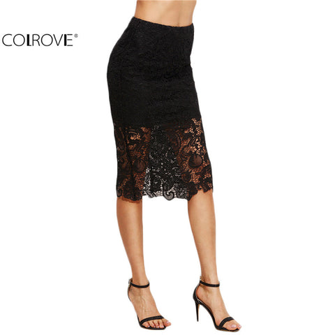 Black Lace Split Back Pencil Knee Length Sheath Work Wear Elegant Skirt