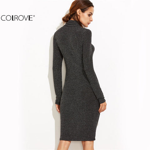 Bodycon Dress Women Business Casual Clothing Black Marled Knit Cowl