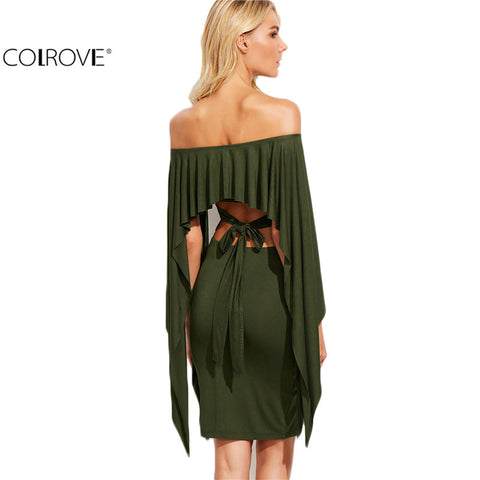 Shoulder Cutout Tie Back Cape Dress Sexy Ladies Long Sleeve Knee Length